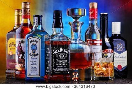 Poznan, Pol - Apr 16, 2020: Bottles Of Assorted Global Hard  Liquor Brands Including Whiskey, Vodka,
