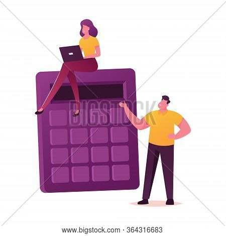 Business People Characters At Huge Calculator Calculating Financial Expenses, Income, Profit Or Loan