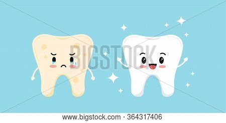 Cute White Tooth And Tooth With Yellow Plaque Before, After Icon Set. Teeth Stain Treatment, Cleanin