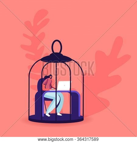 Female Character Sitting In Hanging Metal Birds Cage Working On Laptop Dream To Escape During Covid1
