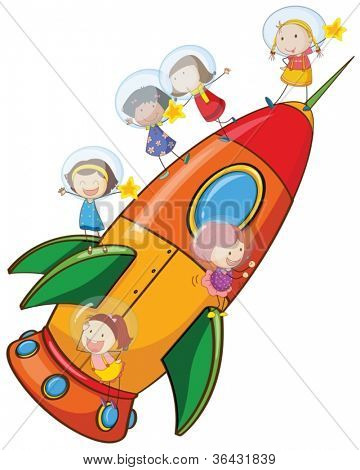 illustration of a kids on rocket on white background