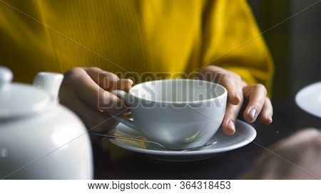 Close-up Of Man And Woman Talking Over Tea. Stock Footage. Man Gestures With Hands While Talking To