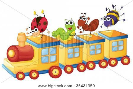 illustration of a various insects on a toy train