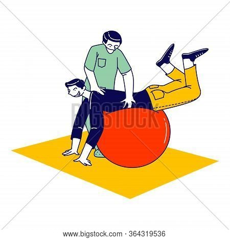 Physio Therapist Character Work With Sick Man Patient Isolated On White Background. Athlete Rehabili