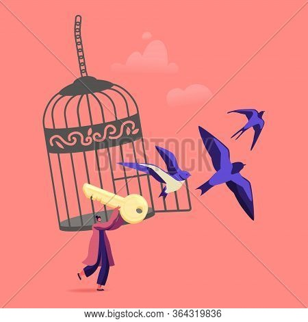 Freedom Concept. Female Character Escape Cell. Woman With Golden Key Get Out Of Metal Cage With Swal