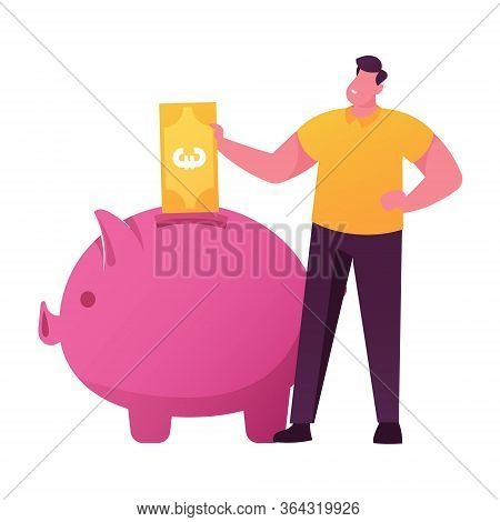 Male Character Put Golden Euro Banknote Into Huge Piggy Bank. Man Save And Collect Money In Thrift-b