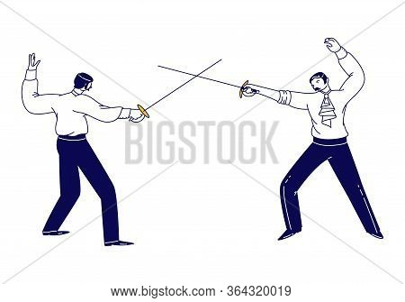 Male Characters Wearing Aristocrat Dress Fencing Isolated On White Background. Opponents Fighting On