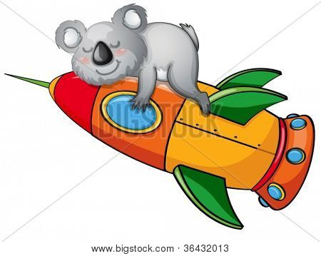 illustration of a bear on rocket on white background