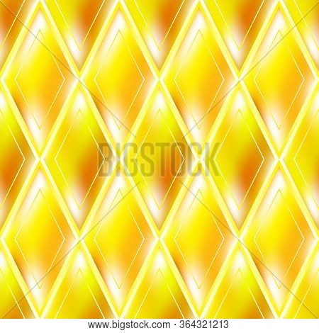 Gold Glassy Abstract Seamless Pattern. Elegant Luxury Design With Shiny Effect.