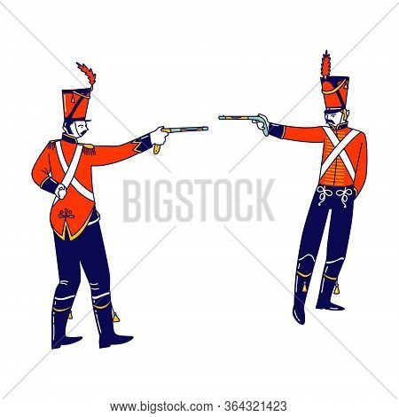 Hussar Characters Dueling With Guns Isolated On White Background. Russian Ancient Solders, Cavalryme