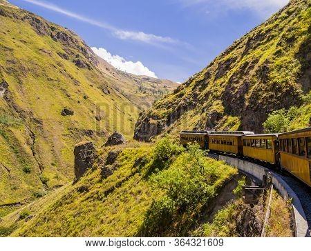 Stunning View Of Devi'ls Nose Train, Running On Beautifiul Andean Landscape, Alausi Ecuador