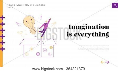 Think Outside Landing Page Template. Businessman Character Take Off Huge Box Like Super Hero Front O