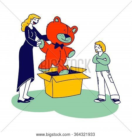 Disappointed Child With Crossed Arms Look On Huge Soft Bear Female Character Take Out Of Carton Box.