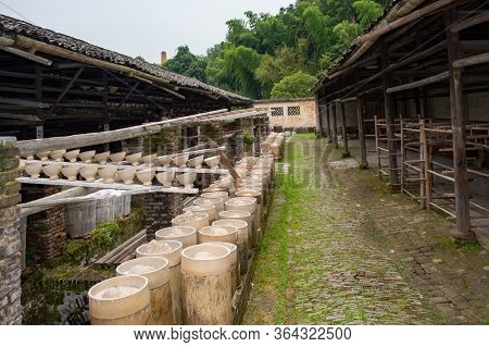 Clay Pottery Drying In Old Traditional Pottery Workshop In Jingdezhen, China
