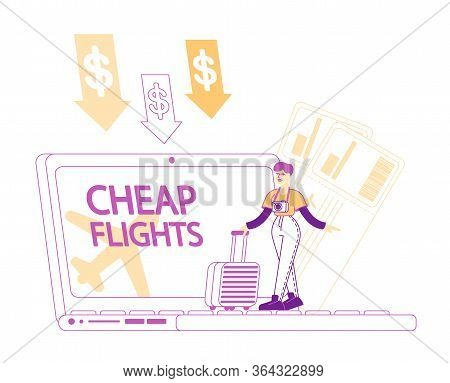 Cheap Flight, Travel Budget Concept. Tiny Female Character With Baggage Stand At Huge Laptop With Lo