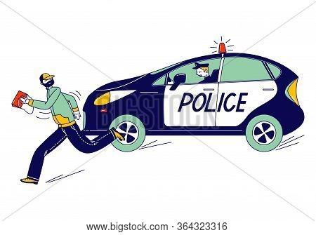 Police Man Character Pursuit Pickpocket Thief With Stolen Bag By Car. Gangster Steal Money. Officer