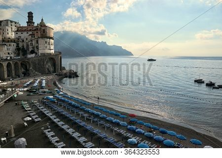 beach on Amalfi Coast at the first light of morning in Campania