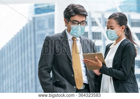 Office Worker Meeting With Face Mask Quarantine From Coronavirus Or Covid-19.