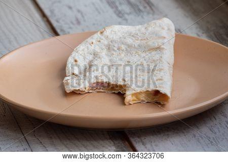 Pita, Pitta Bread With Sausage. Pita With Cheese And Sausage