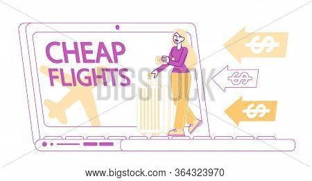 Discount Airline Offer, Cheap Flight, Travel Budget Concept. Tiny Female Character With Baggage Stan