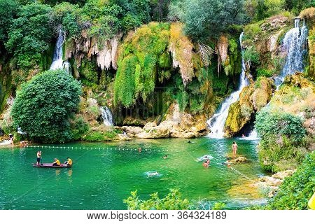 Kravice Falls Near The City Of Mostar. Bosnia And Herzegovina