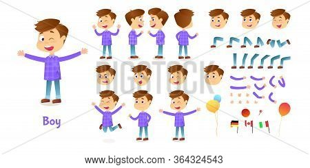Boy Character Constructor. Cartoon Boy Creation Mascot Kit. Character Creation Set Poses And Emotion