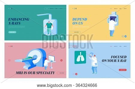 Lungs Tomography, Fluorographic Landing Page Template Set. Doctor Characters Research Pulmonology Pa