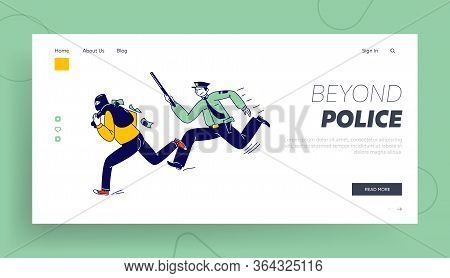 Constable Character Pursuit And Fight With Criminal Landing Page Template. Police Officer At Work Ca