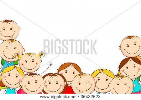 illustration of happy kids on white background