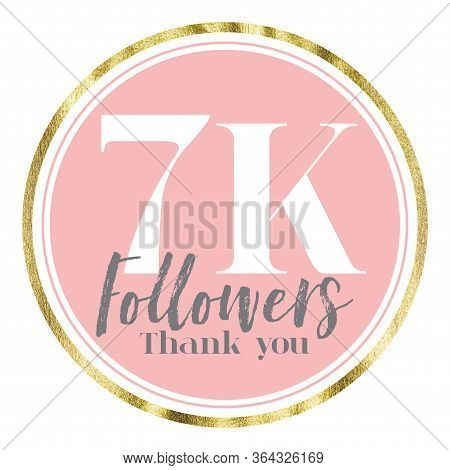 Thank You 7k Followers. Pink And Gold Social Media Followers Banner