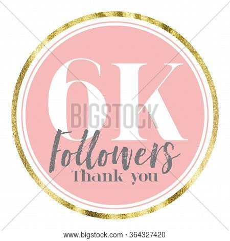 Thank You 6k Followers. Pink And Gold Social Media Followers Banner