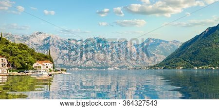 View Lovcen Mountain From Bay Of Kotor And Perast Town