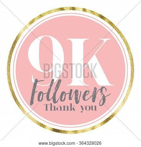Thank You 9k Followers. Pink And Gold Social Media Followers Banner