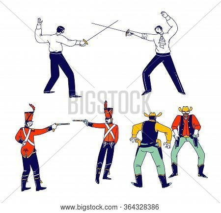 Set Male Characters Fighting On Duel. Wild West Cowboys In United States Armed With Revolver Ready T