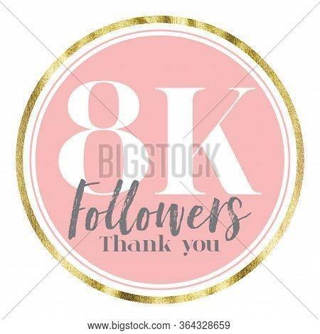 Thank You 8k Followers. Pink And Gold Social Media Followers Banner