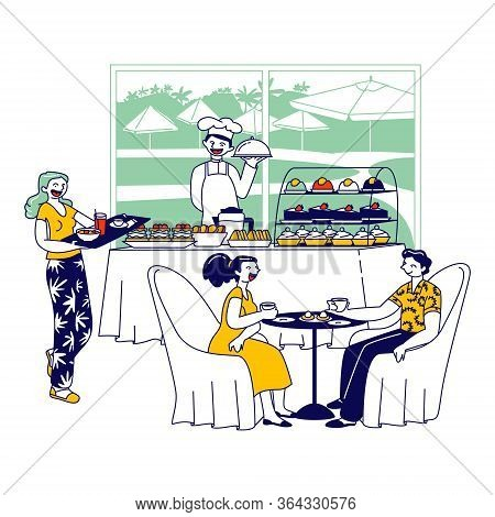 Hotel Staff Serving Breakfast, People Eating In Hotel Restaurant. Chef Character Stand At Table With