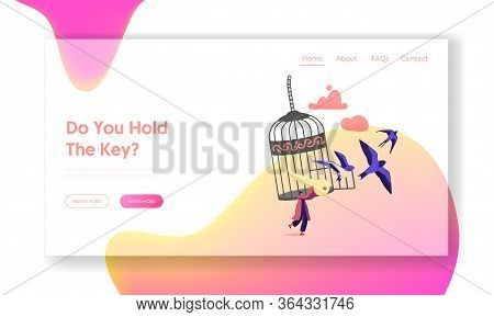 Freedom Landing Page Template. Female Character Escape Cell. Woman With Golden Key Get Out Of Metal