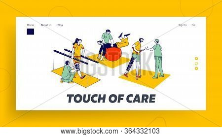 Rehabilitation, Disabled Physiotherapy Landing Page Template. Characters Engaged Adaptive Physical E