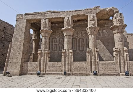 Hieroglypic Carvings On Columns At The Ancient Egyptian Temple Of Horus In Edfu