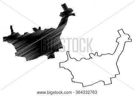 Baia Mare City (republic Of Romania, Maramures County) Map Vector Illustration, Scribble Sketch City