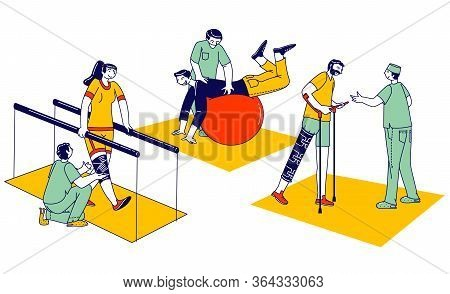 Characters Engaged Adaptive Physical Education, Rehabilitation, Disabled Physiotherapy. Correction O