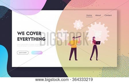 Scm, Supply Chain Management, Procurement Landing Page Template. Characters With Laptop And Spyglass