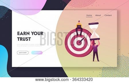 Priorities Organize Landing Page Template. Businessmen Characters Sitting On Huge Target With Arrow