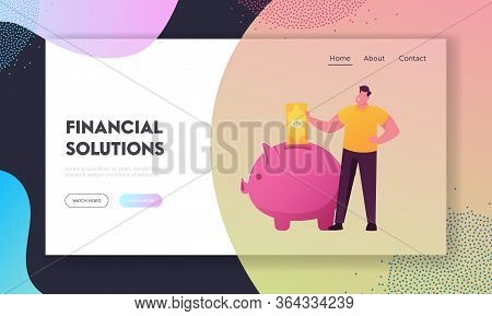 Finance Budget, Diversification Of Savings Landing Page Template. Male Character Put Euro Banknote T