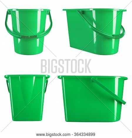 Green Plastic Bucket On A White Background. Housewares.