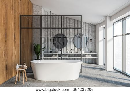 Interior Of Luxury Attic Bathroom With White, Stone And Wooden Walls, Double Sink With Two Round Mir