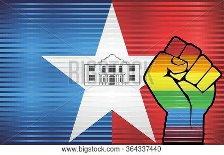 Shiny Grunge San Antonio And Gay Flags - Illustration, Abstract Grunge San Antonio Flag And Lgbt Fla