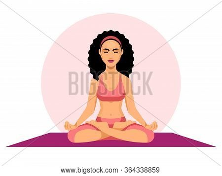 Woman In Meditation. Female Yoga. The Position Of The Lotus. The Concept Of Meditation. Relax In Med