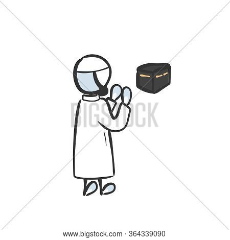Muslim On Hajj To Kaaba Worship God, Making Supplication. Hand Drawn. Stickman Cartoon. Doodle Sketc