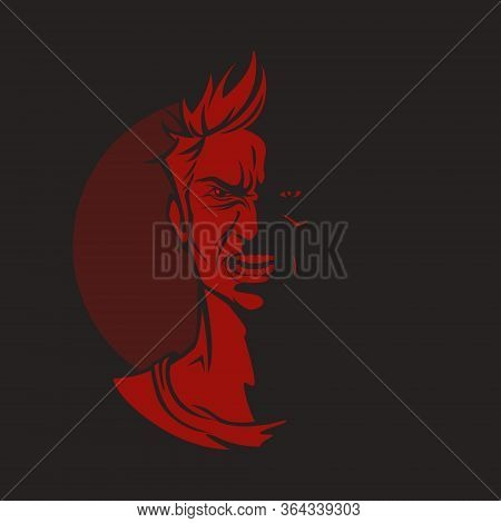 Cartoon Devil Character With Madness Demonic Face